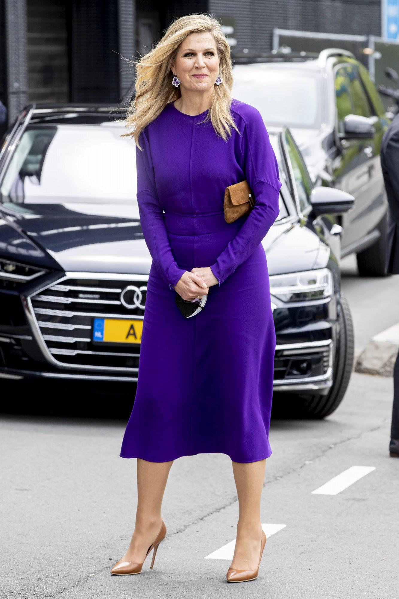 Reina Maxima de Holanda, look del dia, vestido morado