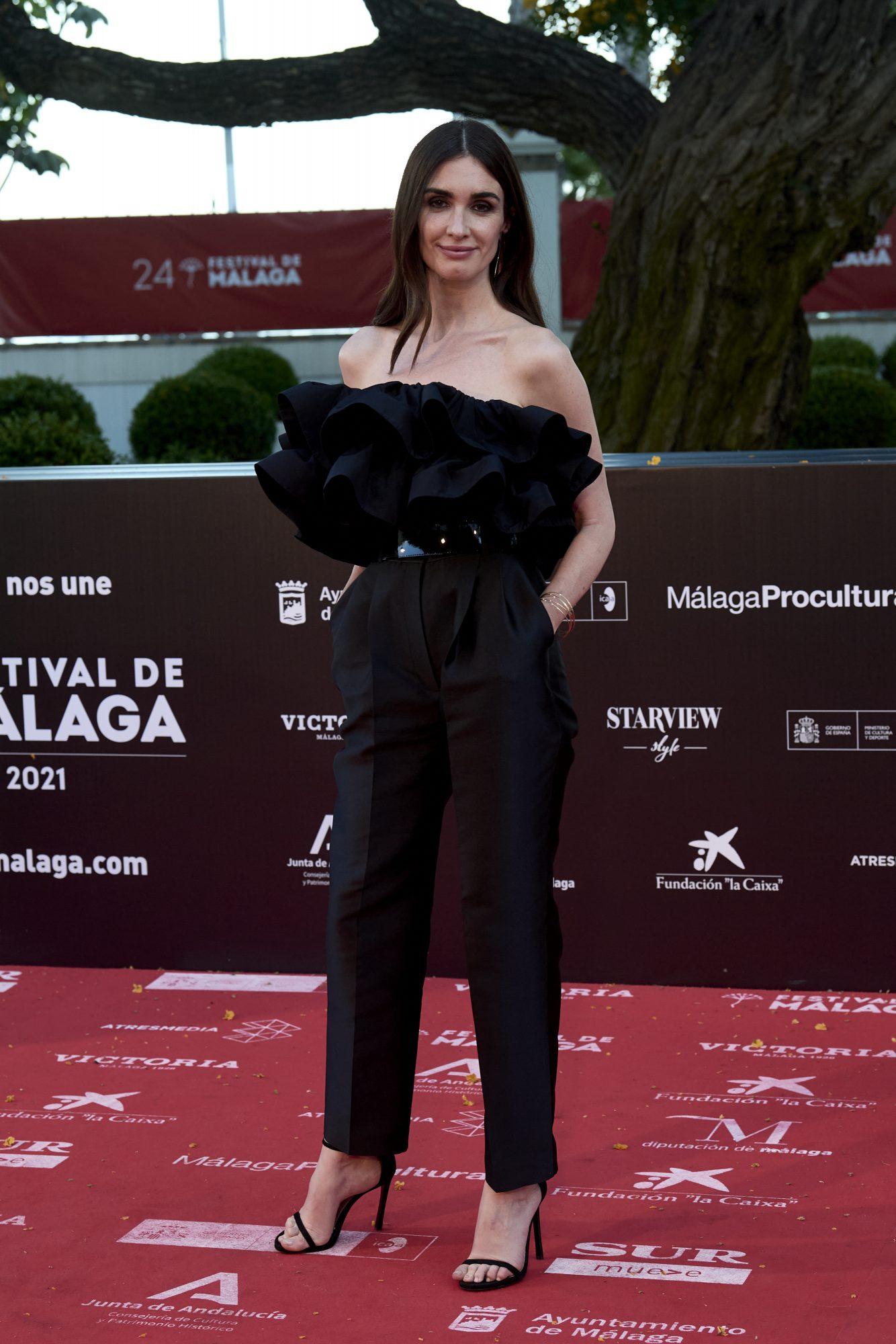 Paz Vega, look de negro, malaga, jumpsuit