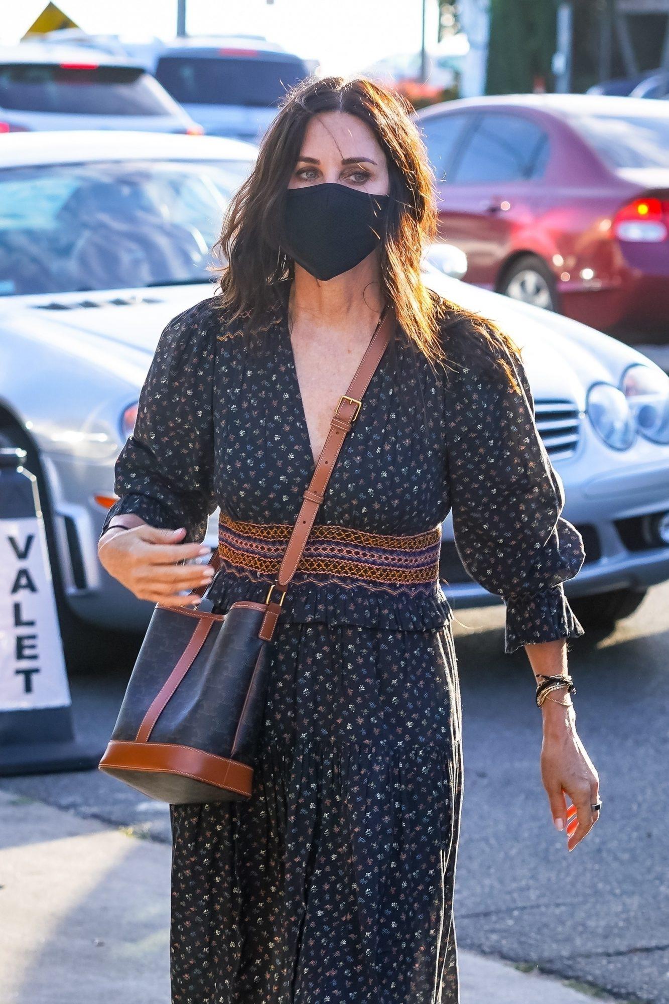 Courteney Cox Arrives to Giorgio Baldi in a Beautiful Boho Outfit