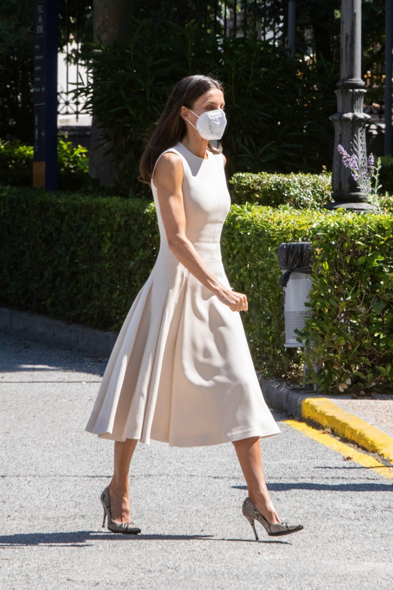Reina Letizia, vestido crema, Madrid