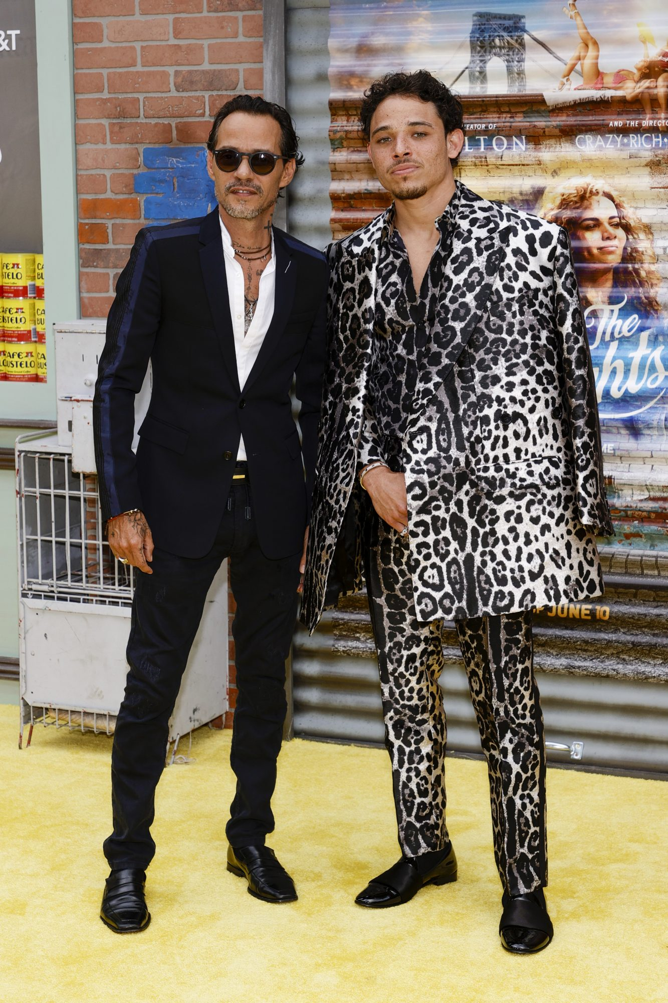 """Marc Anthony (L) and Anthony Ramos attend the """"In The Heights"""" Opening Night Premiere during the 2021 Tribeca Festival at United Palace Theate"""