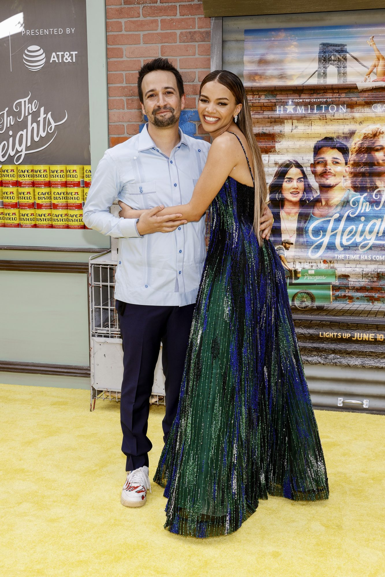 """Lin-Manuel Miranda and Leslie Grace attend the """"In The Heights"""" Opening Night Premiere during the 2021 Tribeca Festival at United Palace Theater"""