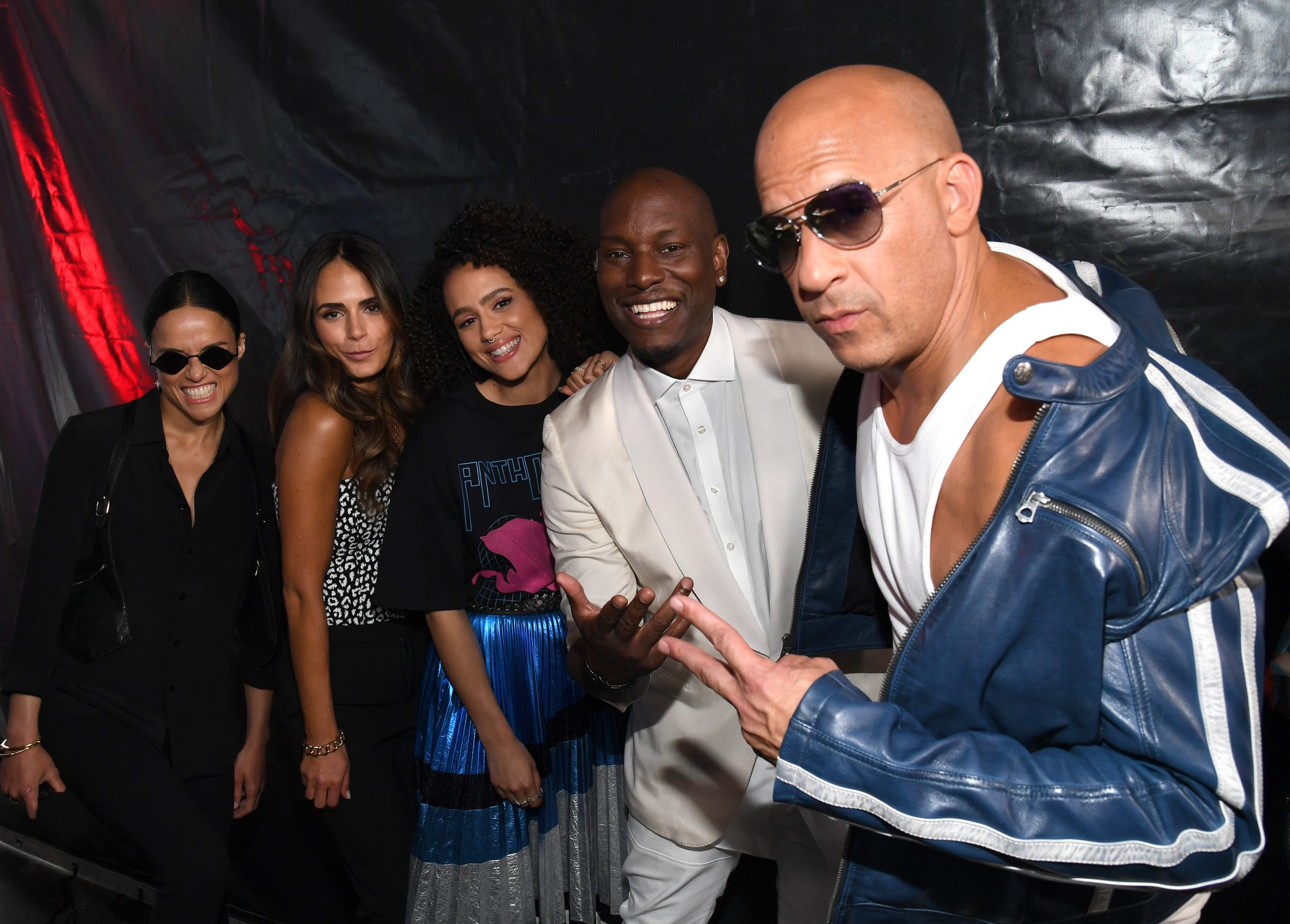 Michelle Rodriguez, Jordana Brewster, Nathalie Emmanuel, Tyrese Gibson y Vin Diesel.