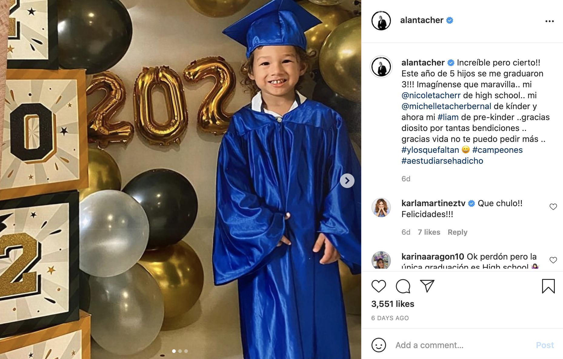 Se gradua Liam el hijo de Alan Tacher