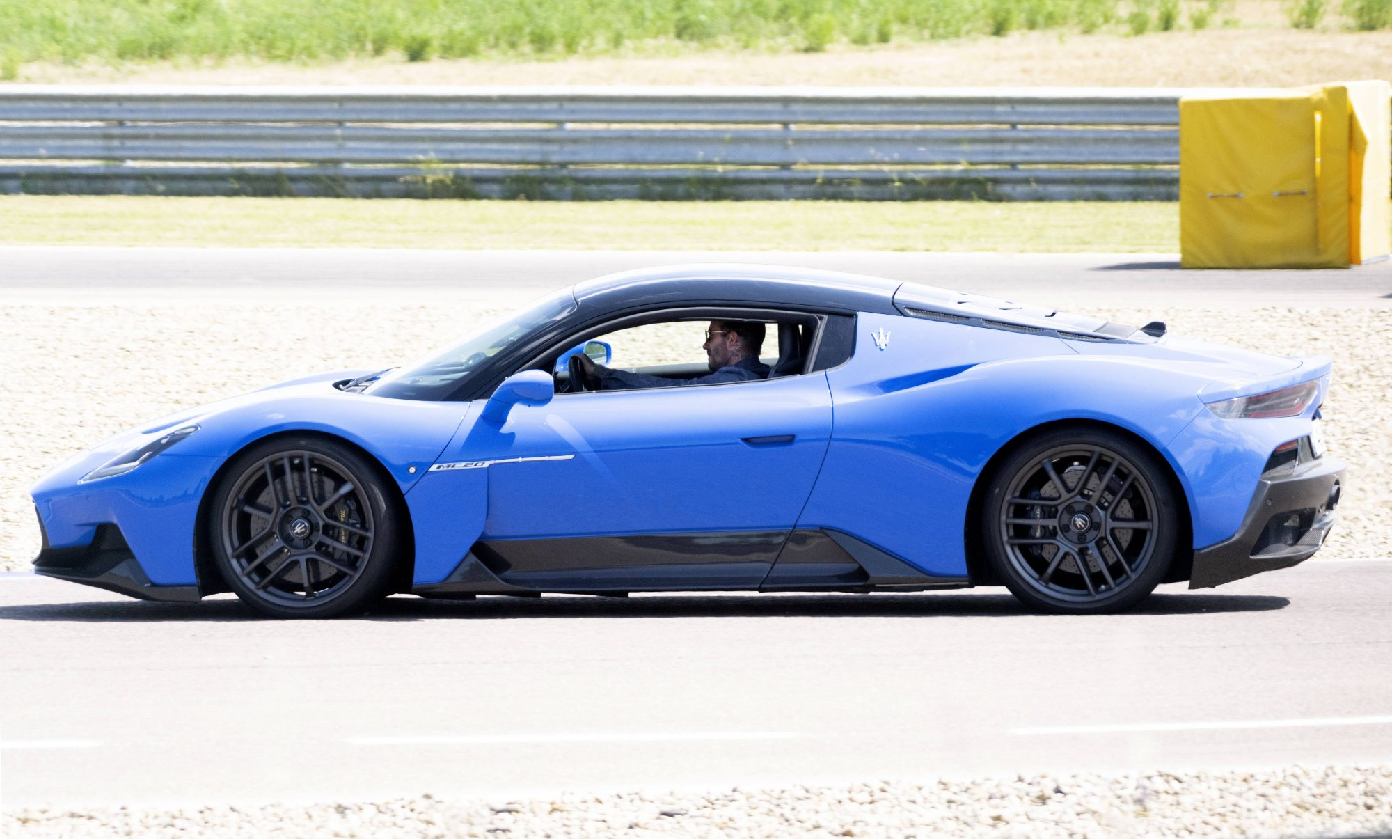 David Beckham Takes New Blue Maserati for a Spin at Modena Autodrome in Italy