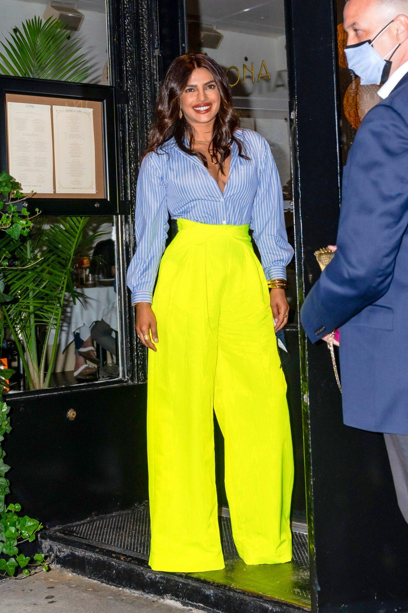 Piryanka Chopra, look del dia, pantalon verde neon