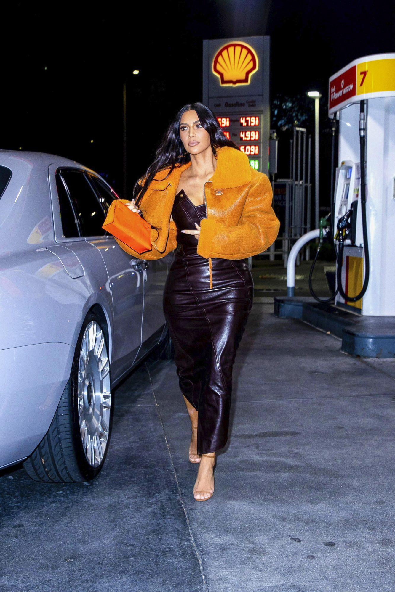 Kim Kardashian Makes a Snack Run in a Dior Dress & YEEZY Jacket Fashioned by Ex