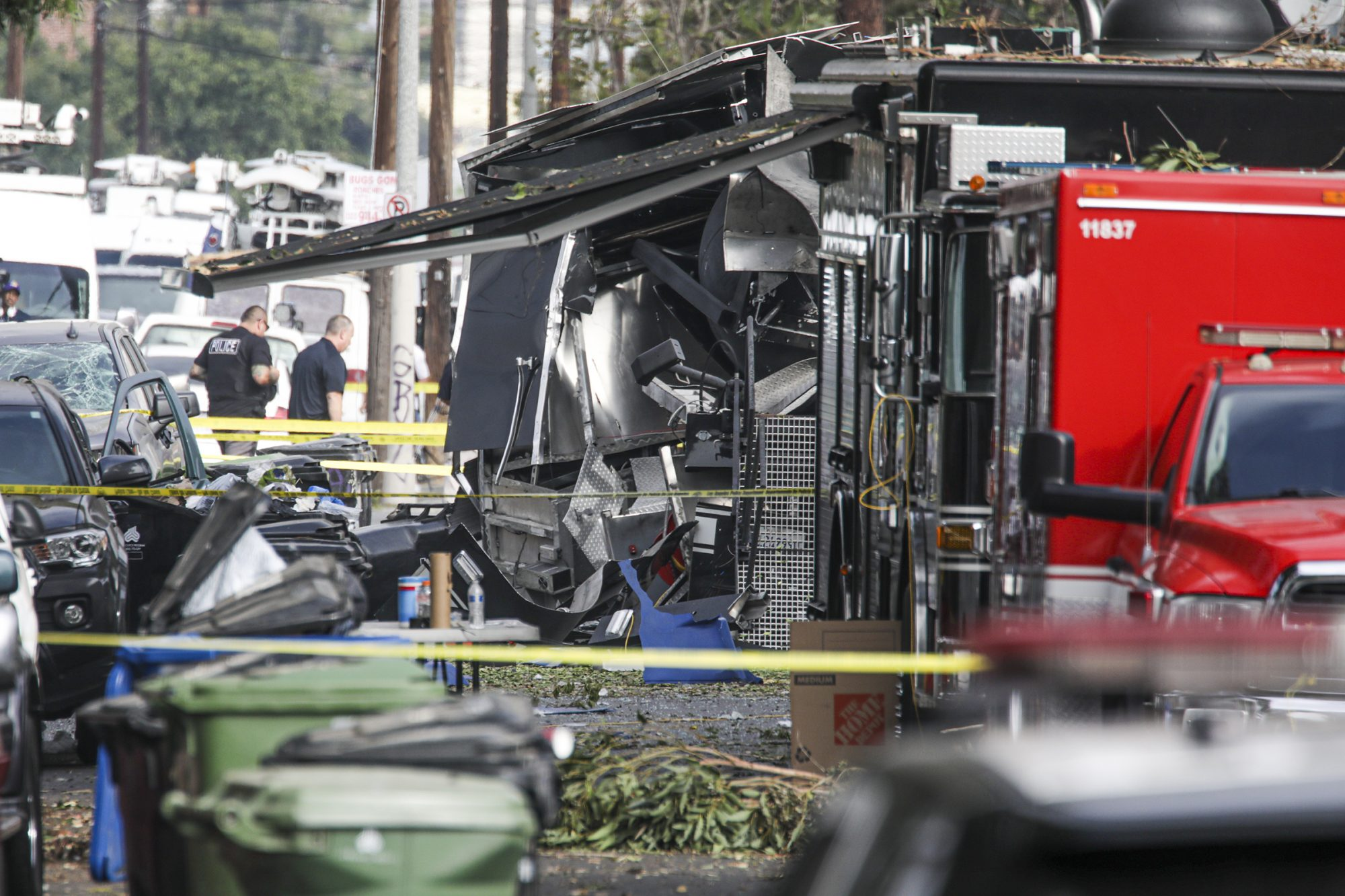 Fireworks explosion injures 17 people, including 10 law-enforcement officers in Los Angeles.