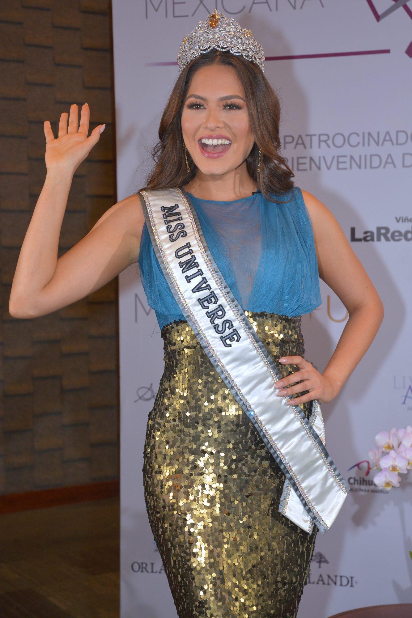 Miss Universe Andrea Meza Poses During a Press Conference at Live Aqua Urban Resort Hotel