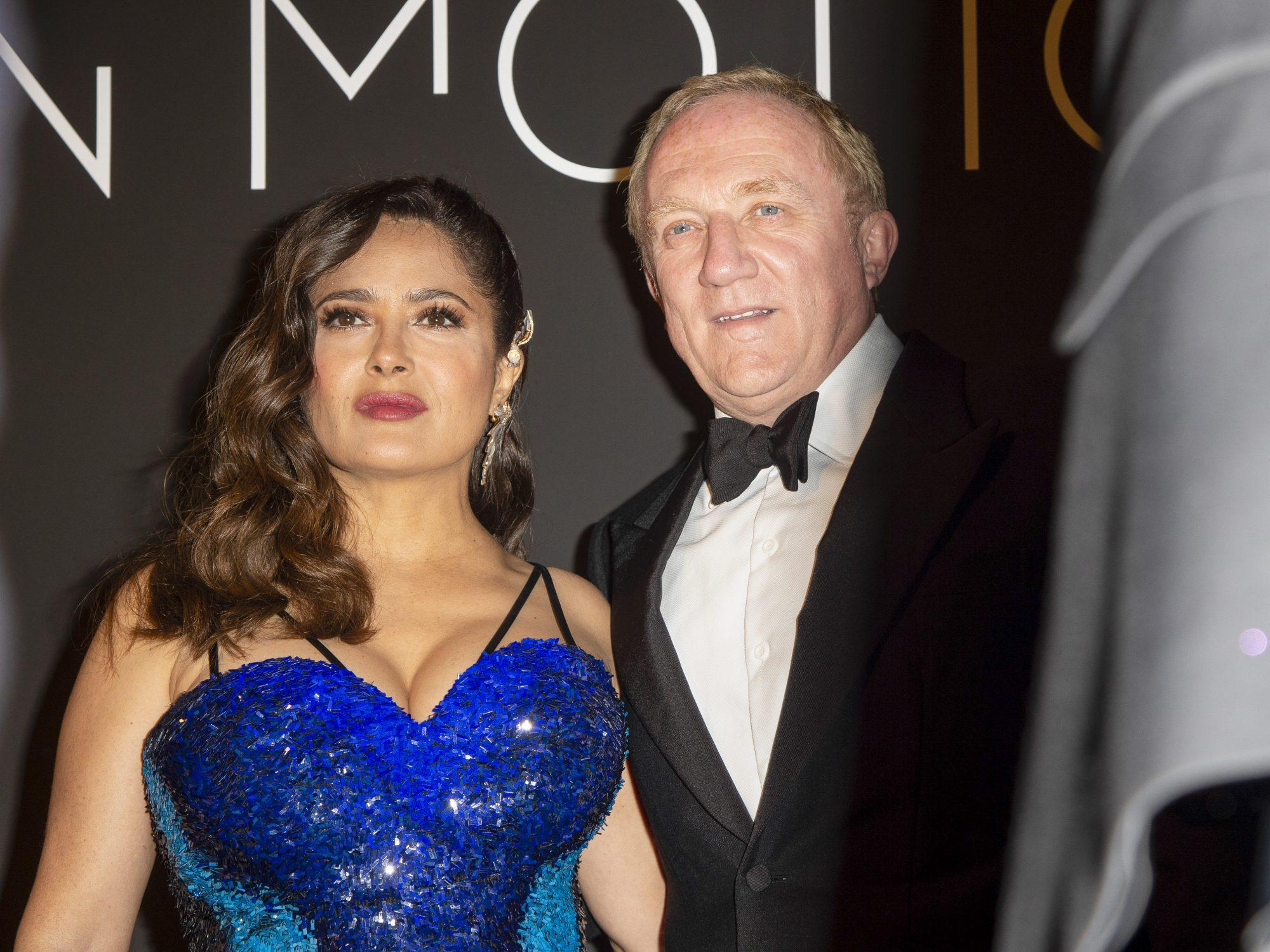Salma Hayek in Blue Sequin Dress Attends the Kering Women Motion Awards in Cannes