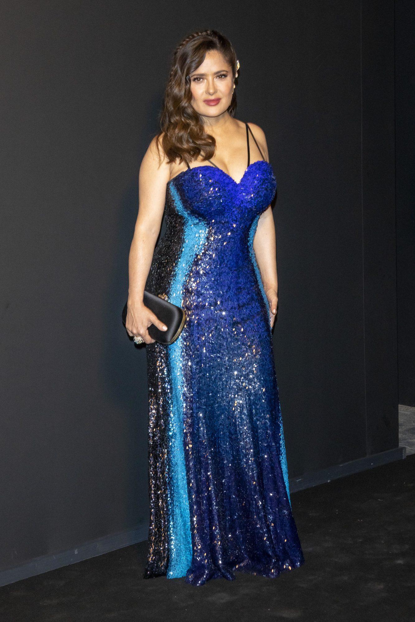 Salma Hayek, vestido azul, look del dia