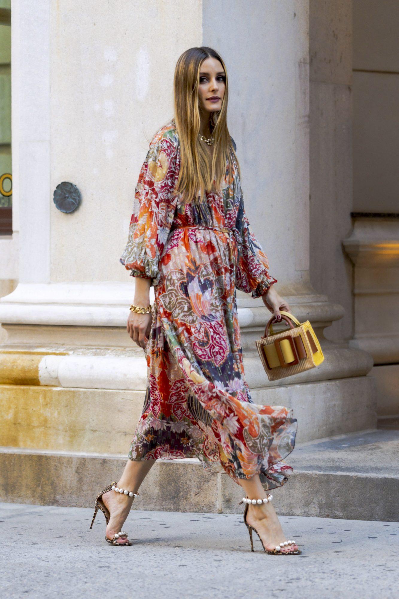 Olivia Palermo, look del dia, vestido estampado, new york