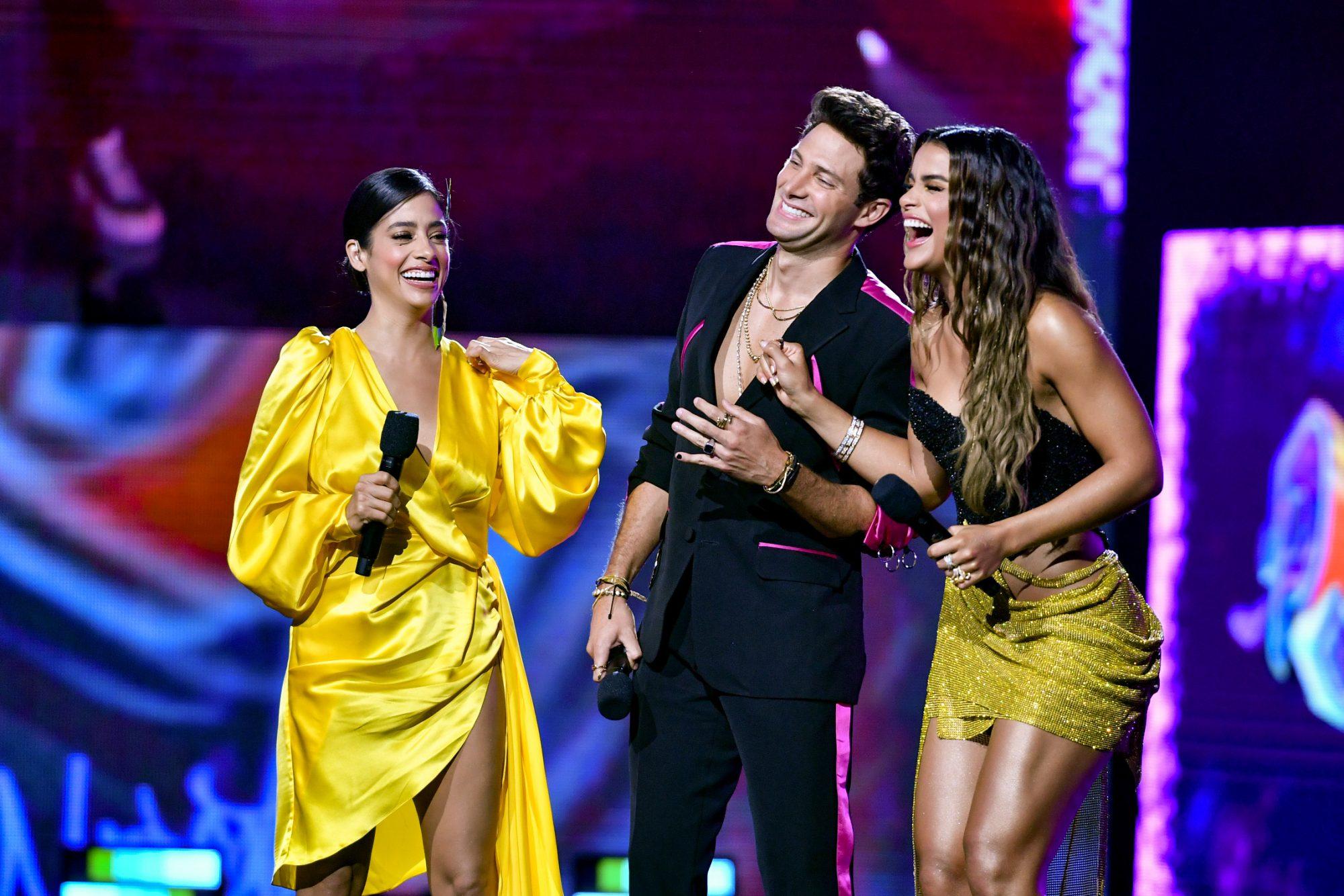 Fátima Molina, Gabriel Coronel, and Clarissa Molina speak onstage at Premios Juventud 2021 at Watsco Center