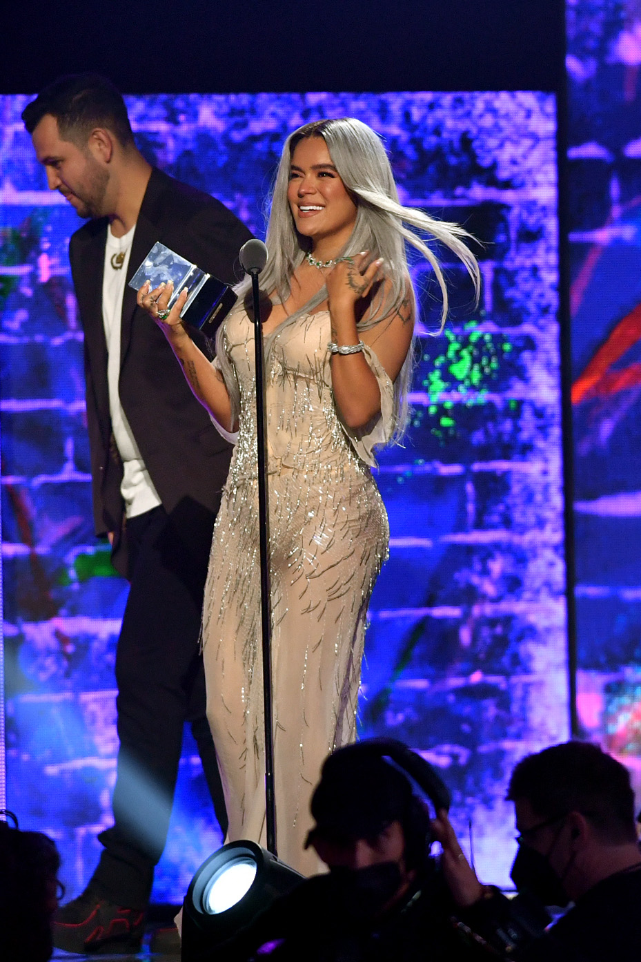 Karol G accepts the award for #1 Artista de la Juventud Femenina onstage at Premios Juventud 2021