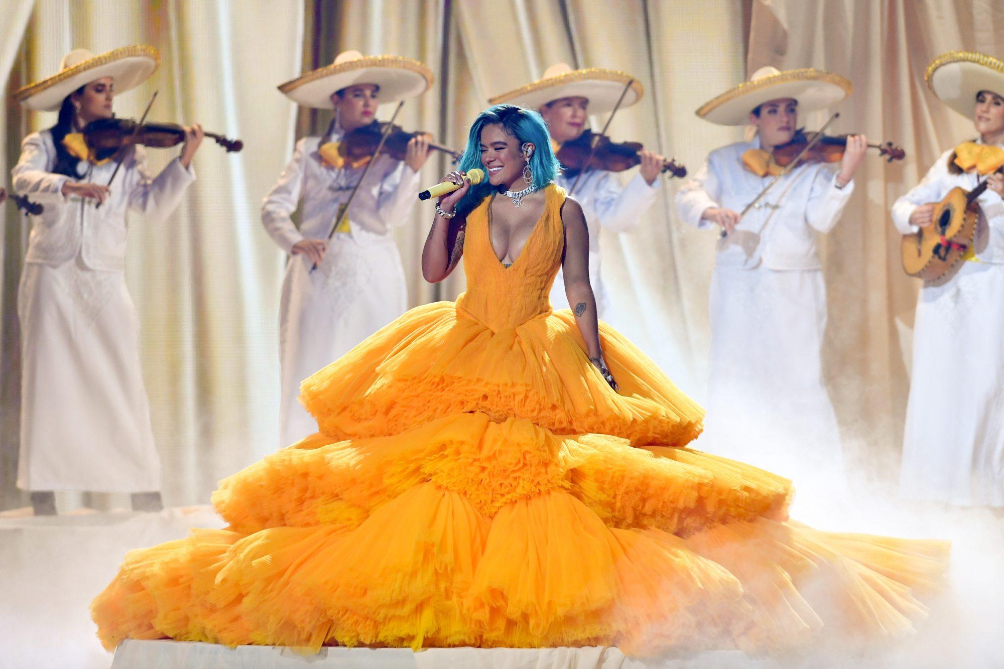 Karol G performs onstage at Premios Juventud 2021 at Watsco Center