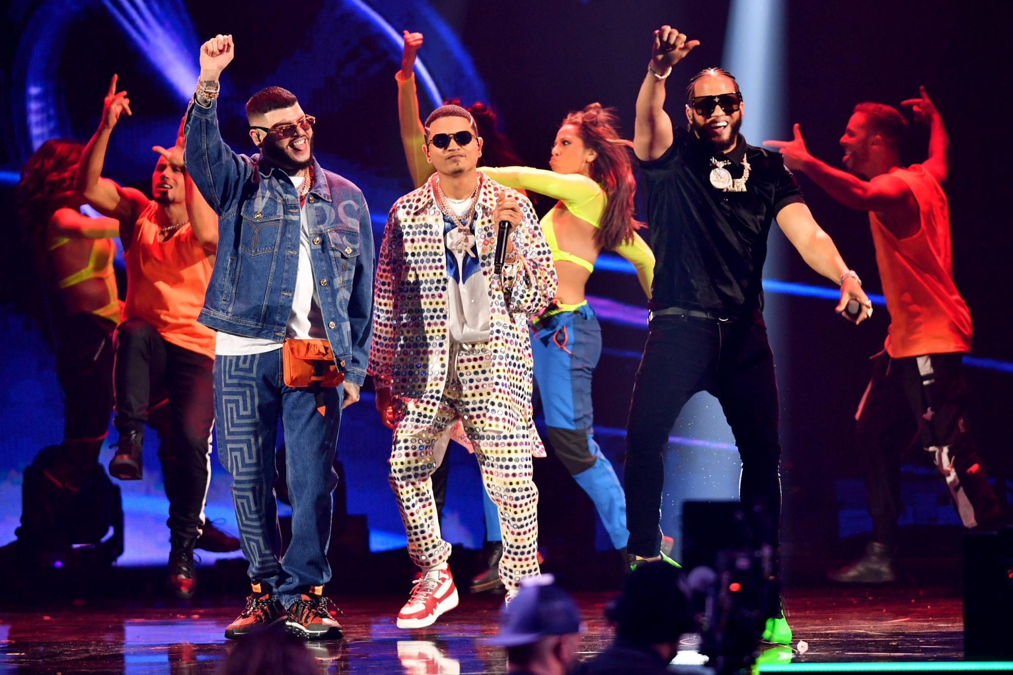 Farruko, Axel Rulay and El Alfa perform onstage at Premios Juventud 2021 at Watsco Center