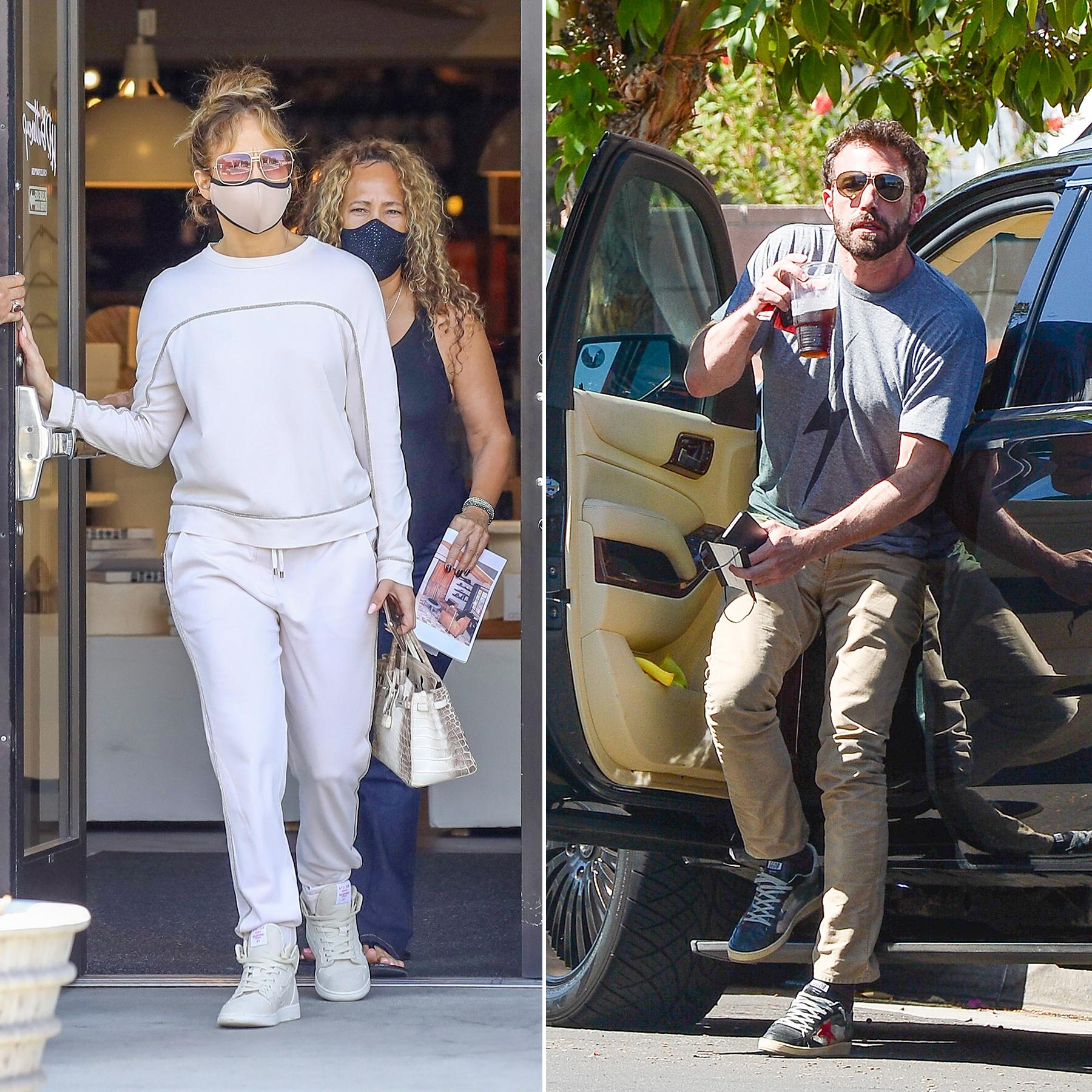 Jennifer Lopez comprando muebles y Ben Affleck visitando a sus hijos