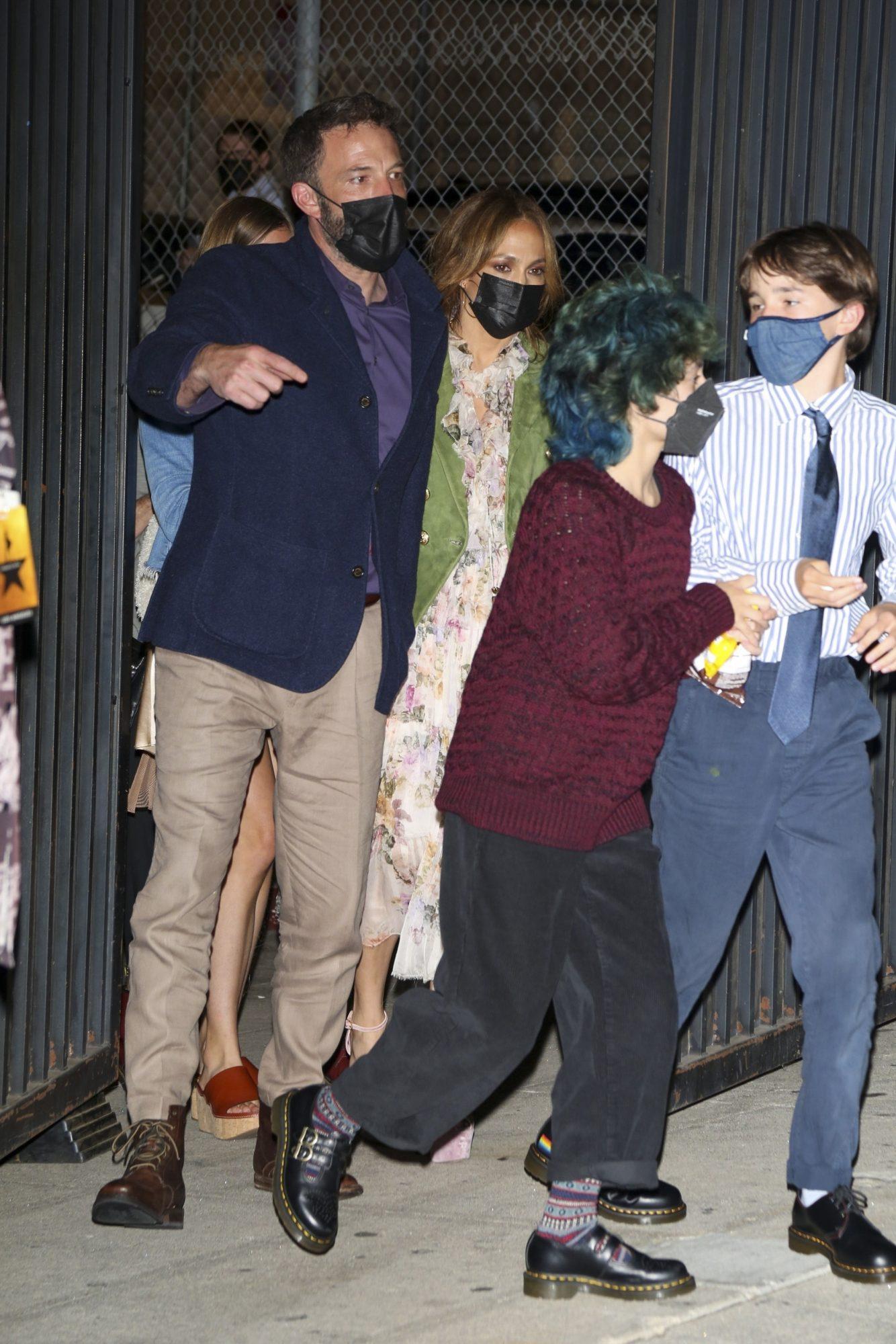 Ben Affleck and Jennifer Lopez Take the Kids to Watch Hamilton