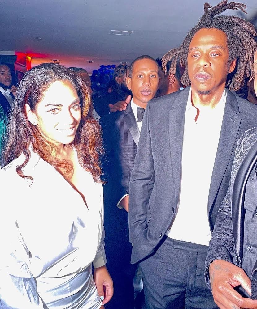 Journalist Sharon Carpenter and Jay-Z hang out at the 40/40 Club Anniversary Saturday Night