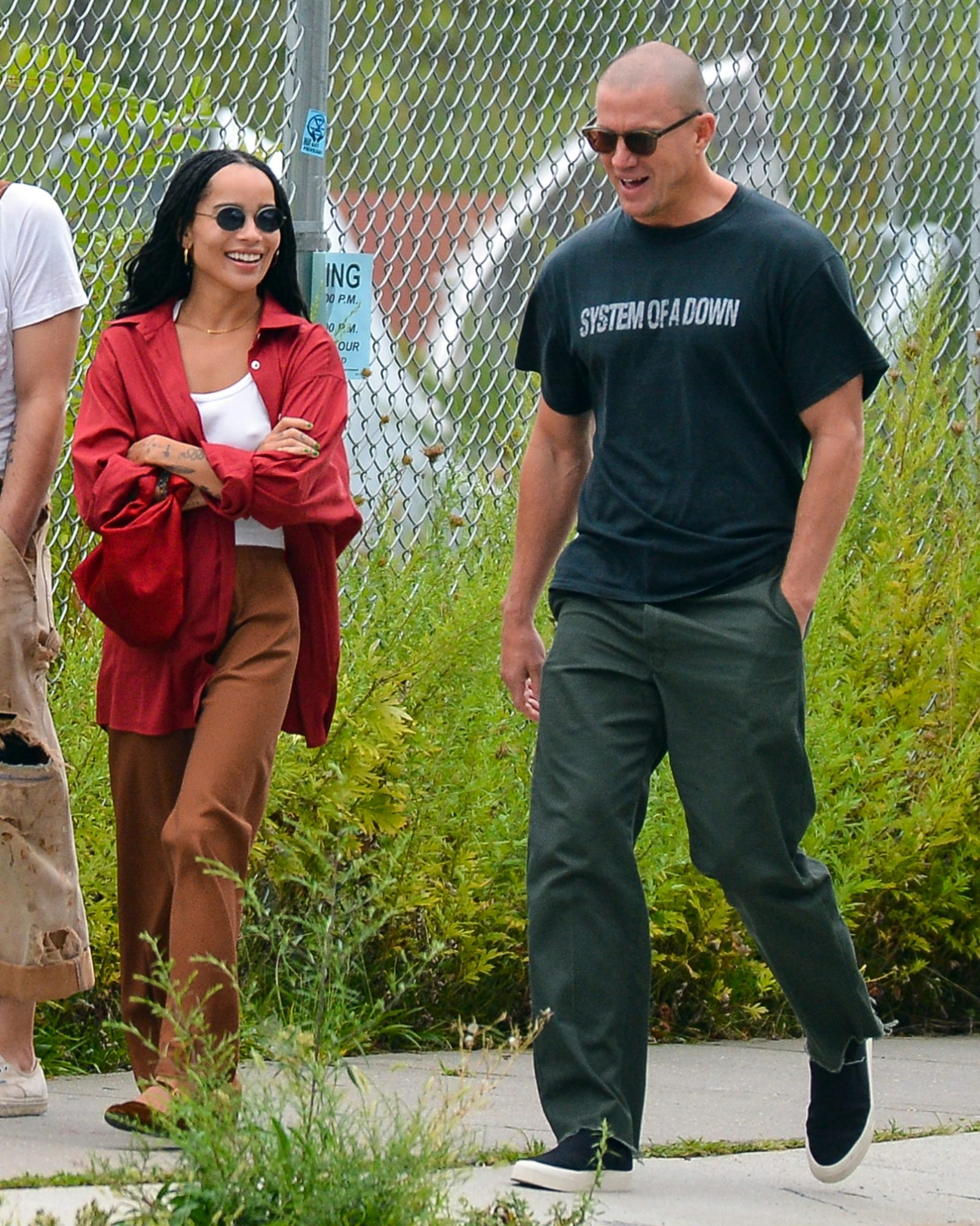 Zoe Kravitz And Channing Tatum Enjoy A Stroll After Dining Alfresco With A Friend In NYC