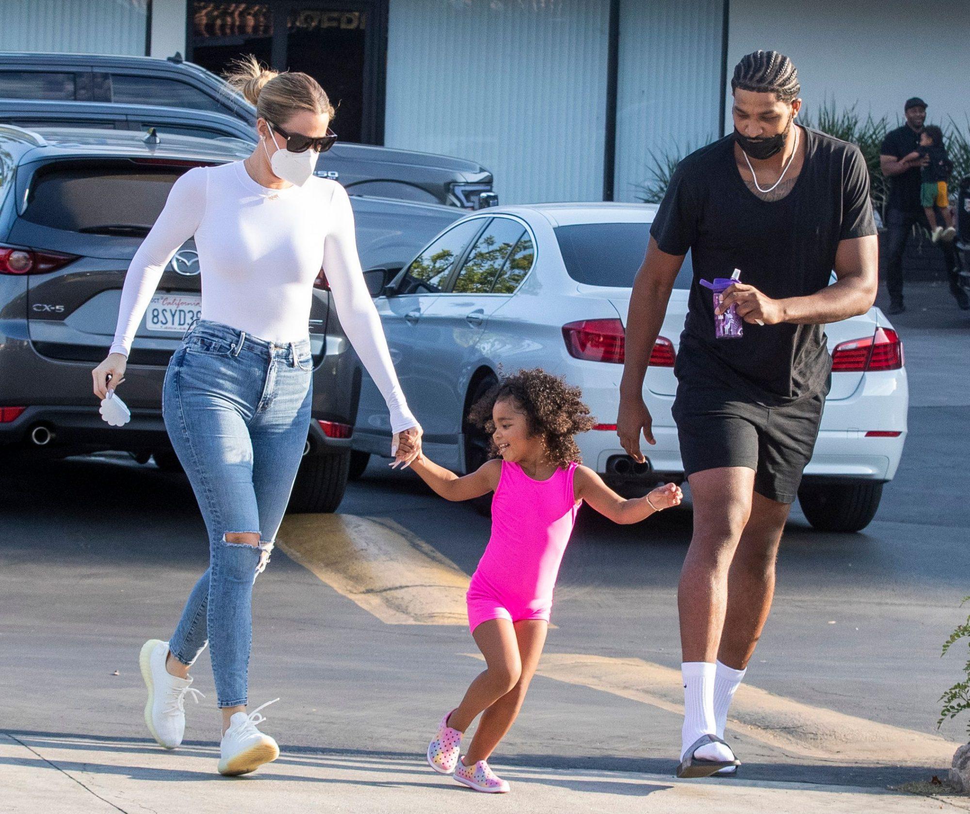 Khloe Kardashian & Tristan Thompson Look Like Quite the Happy Co-Parents as they take True to Gymnastics Class