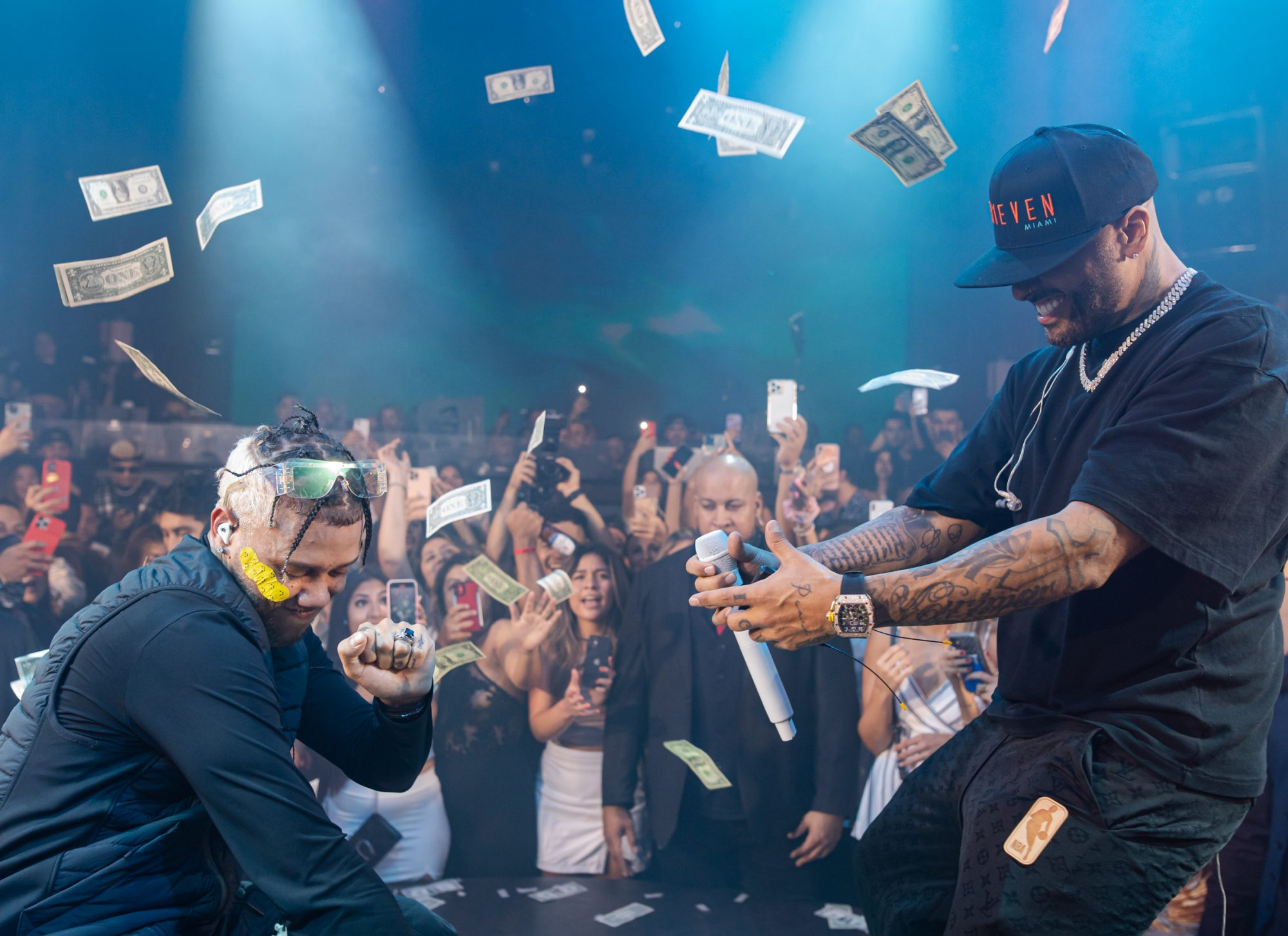 Nicky Jam and Jhay Cortez performed at E11EVEN Miami on Sunday night before enjoying E11EVEN Vodka with friends