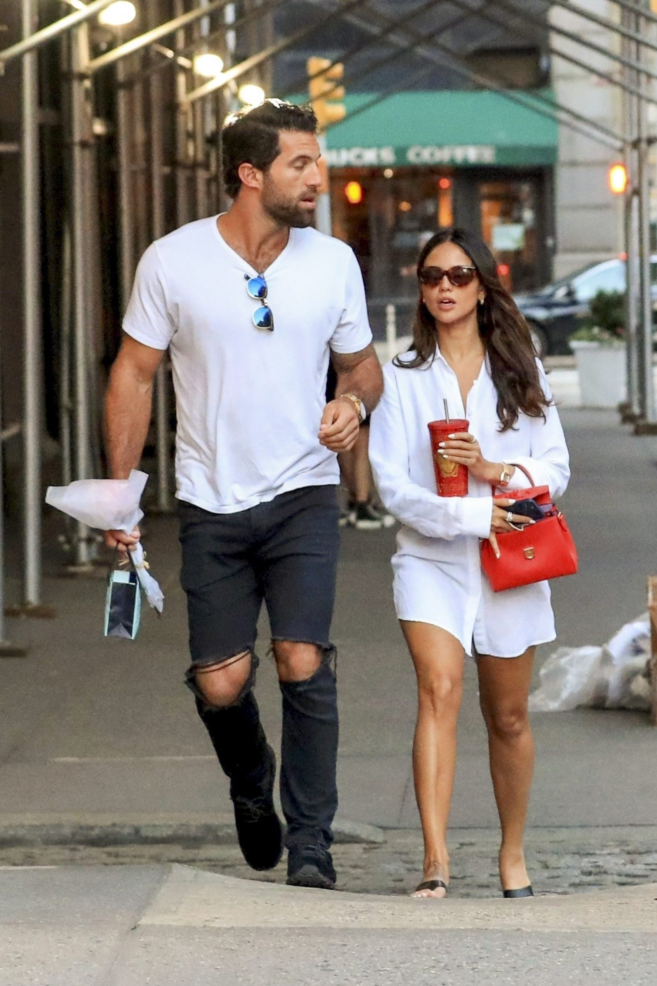 Eiza Gonzalez & Paul Rabil in Matching White Tops for a Stroll in NYC