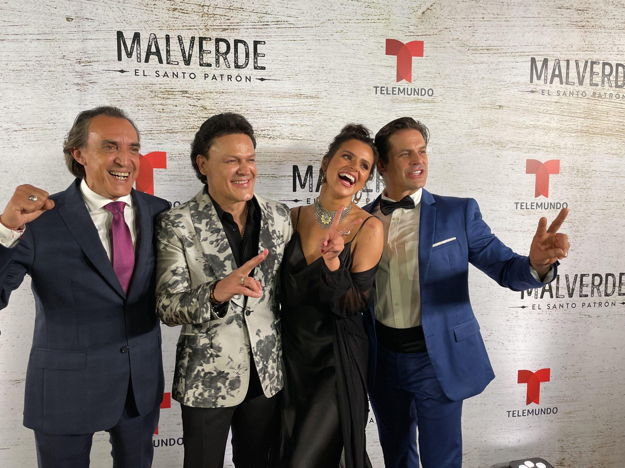 """Pedro Fernández, Isabella Castillo, Mark Tacher y Luis Felipe Tovar en la alfombra y premier en Los Angeles de la telenovela """"Malverde: El Santo Patrón"""" (Telemundo)"""