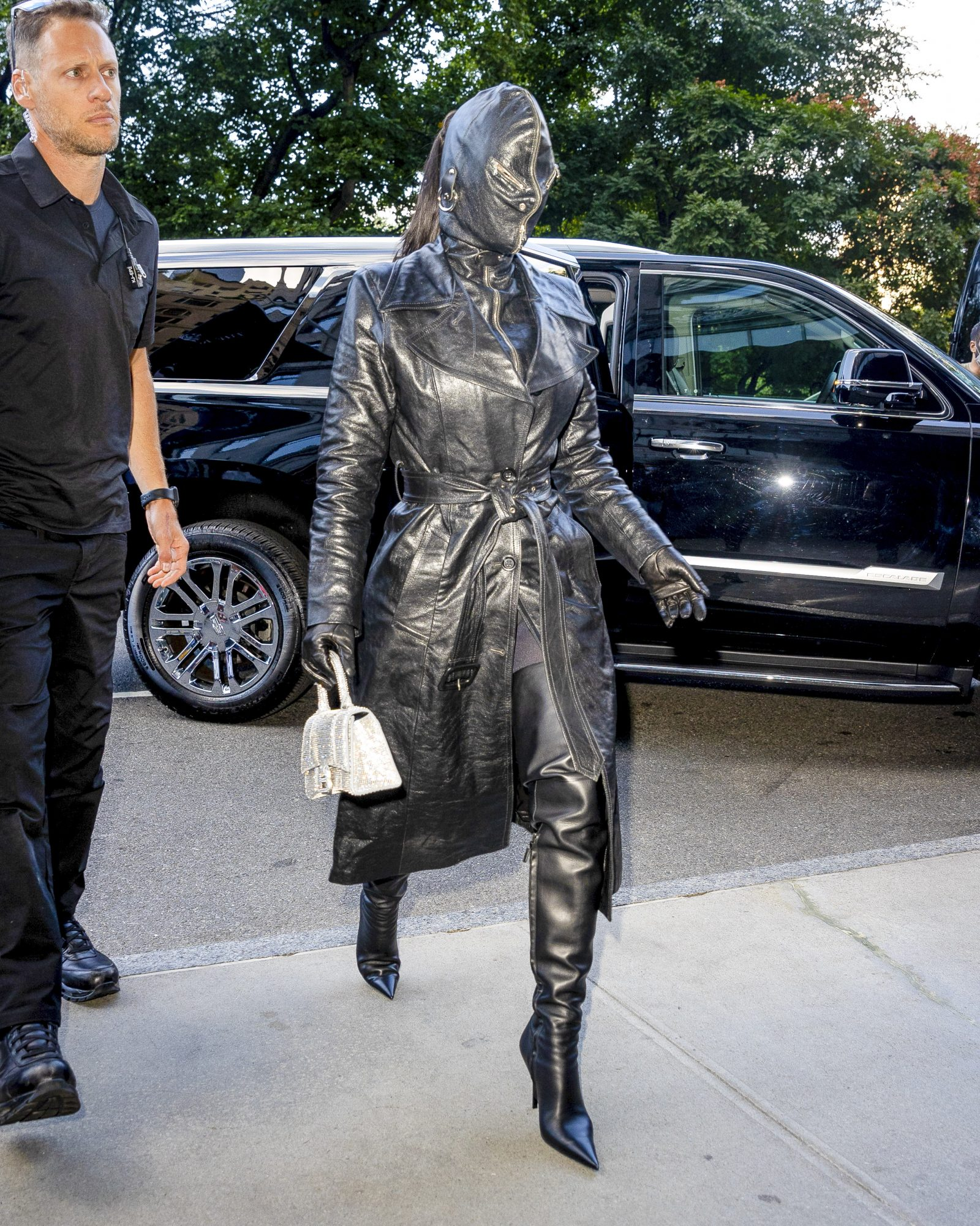 Kim Kardashian Makes A Statement In Head-To-Toe Leather Look As The Kardashian Clan Arrive In NYC