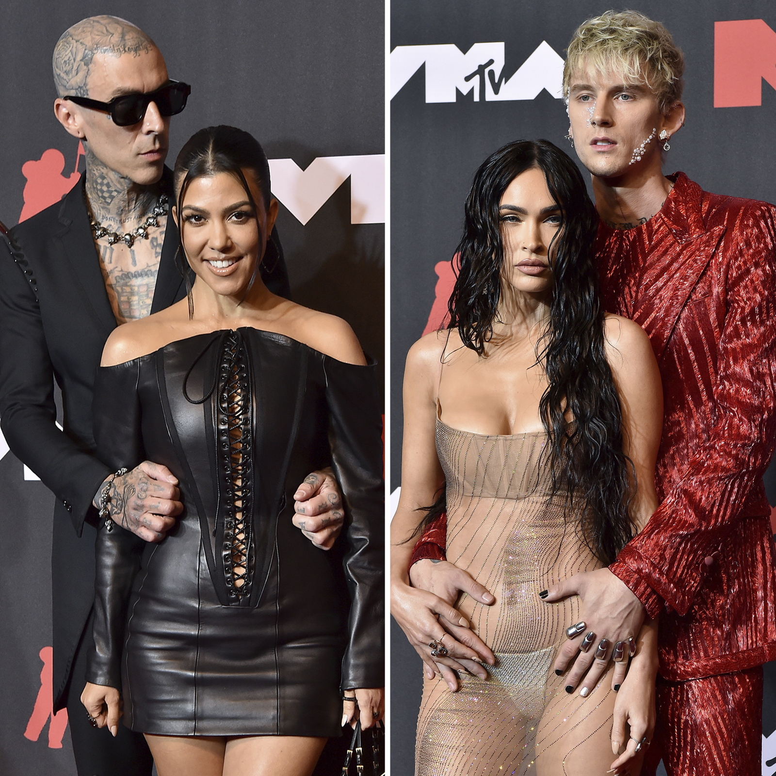 Travis Barker y Kourtney Kardashian y Megan Fox y Machine Gun Kelly