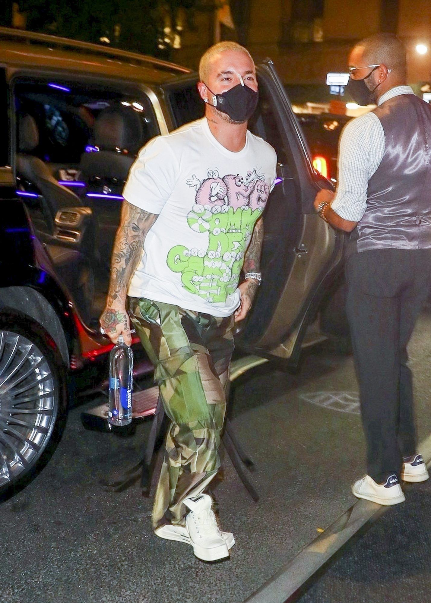 J Balvin Returns to his Hotel from a Day Out in the Big Apple