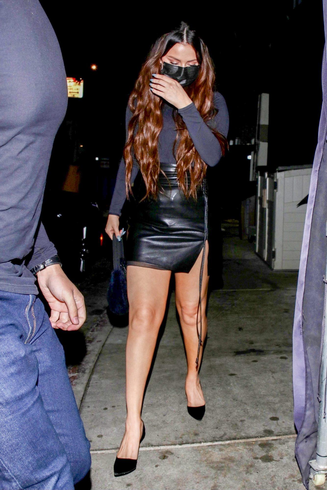 Selena Gomez Flaunts Her Legs In Leather Mini Skirt For Late Dinner In WeHo