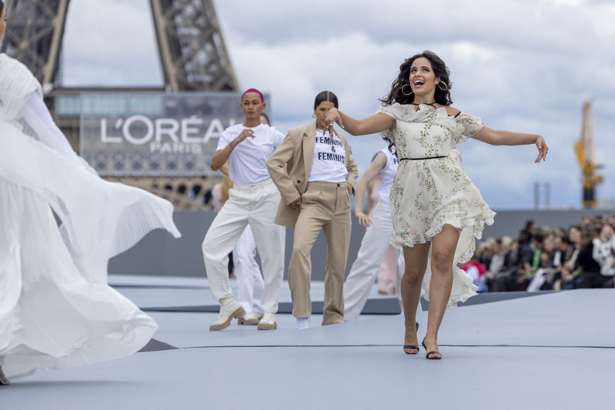 Camila Cabello Wows in a Floral Dress on the L'Oreal Runway at Paris Fashion Week