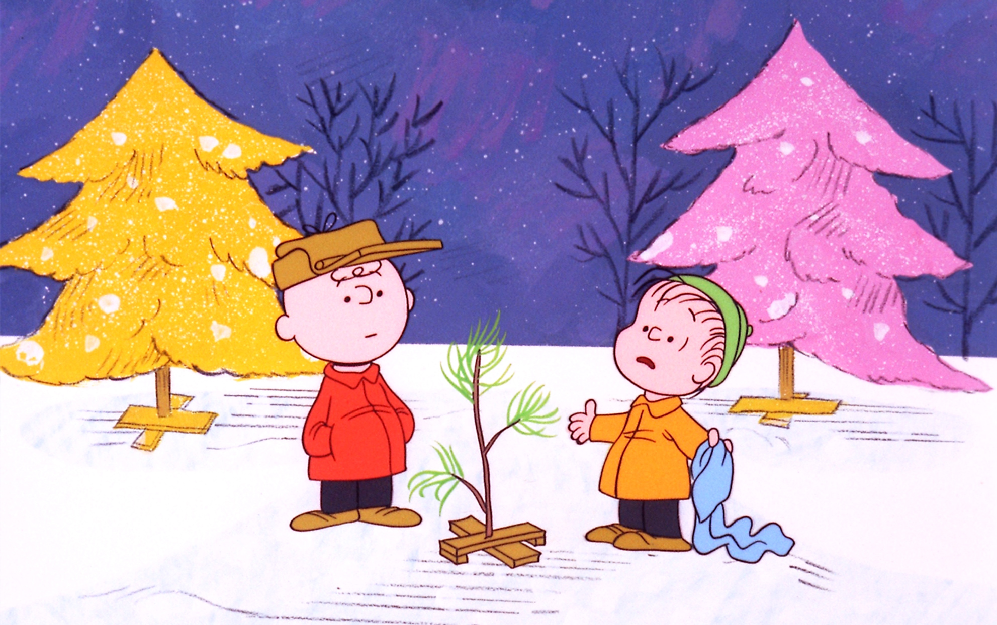 still from A Charlie Brown Christmas show of the Christmas tree, Charlie Brown and Linus