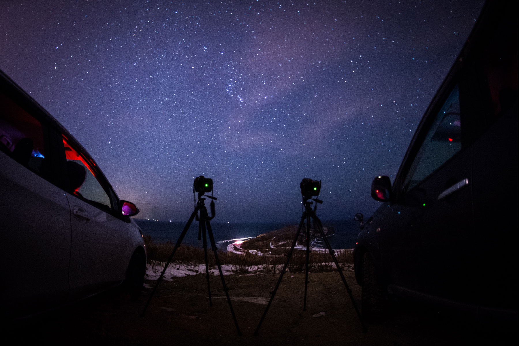 Photographers taking pictures of a Geminids meteor shower