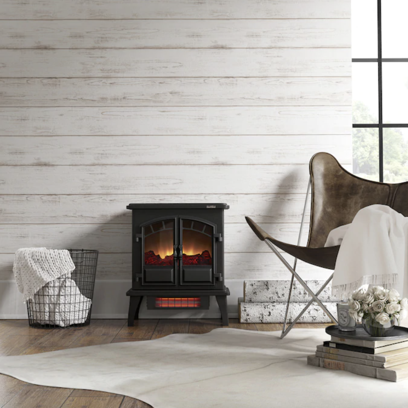 small electric fireplace in home