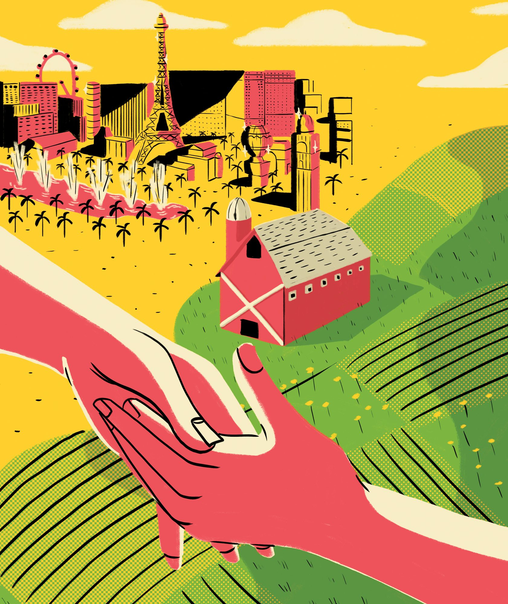 Illustration: holding hands in front of farm and Vegas landscape