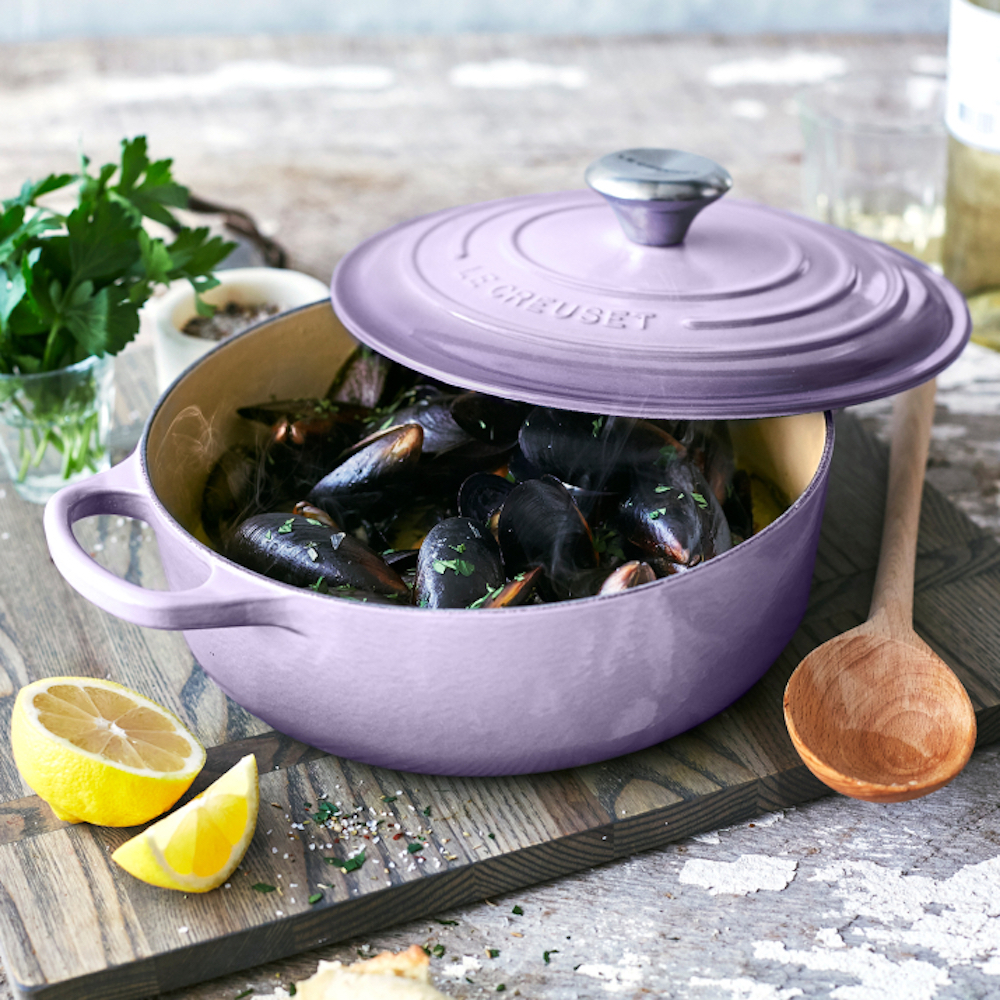 Le Creuset Provence purple dutch oven with mussels
