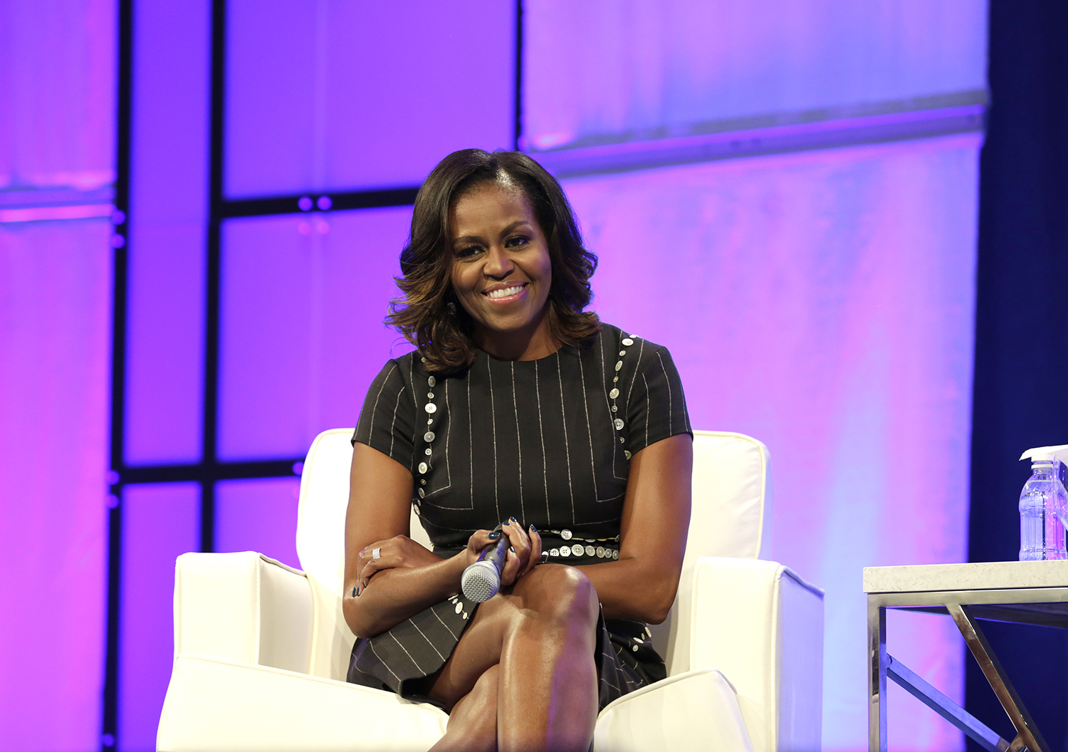 Michelle Obama Smiling at Crowd