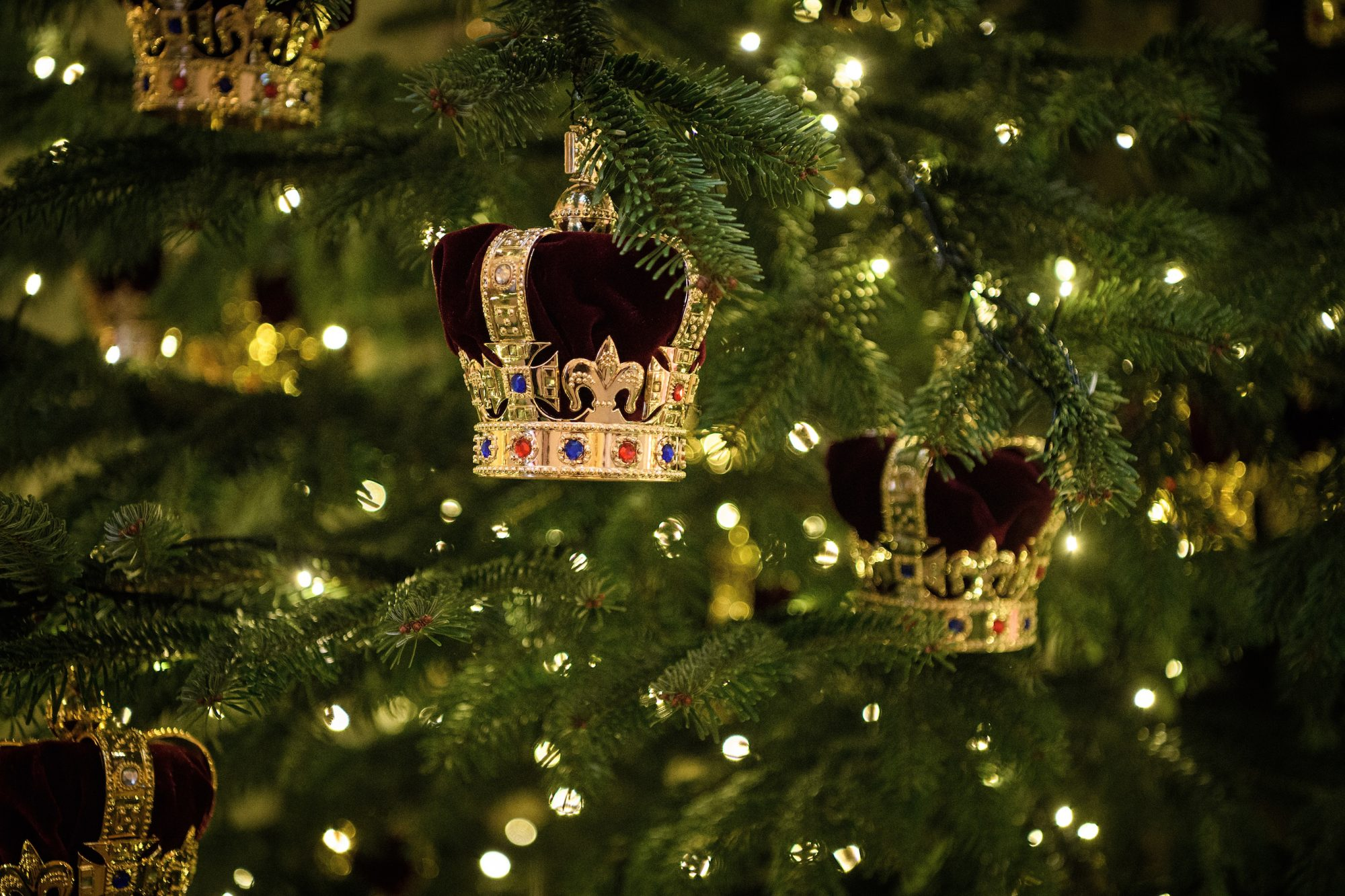 Christmas tree with royal crown ornaments