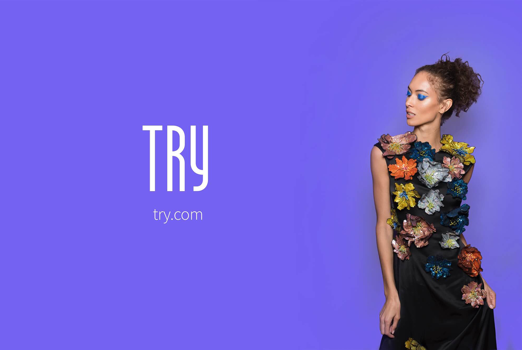 Try.com promo with model in flower appliqué dress