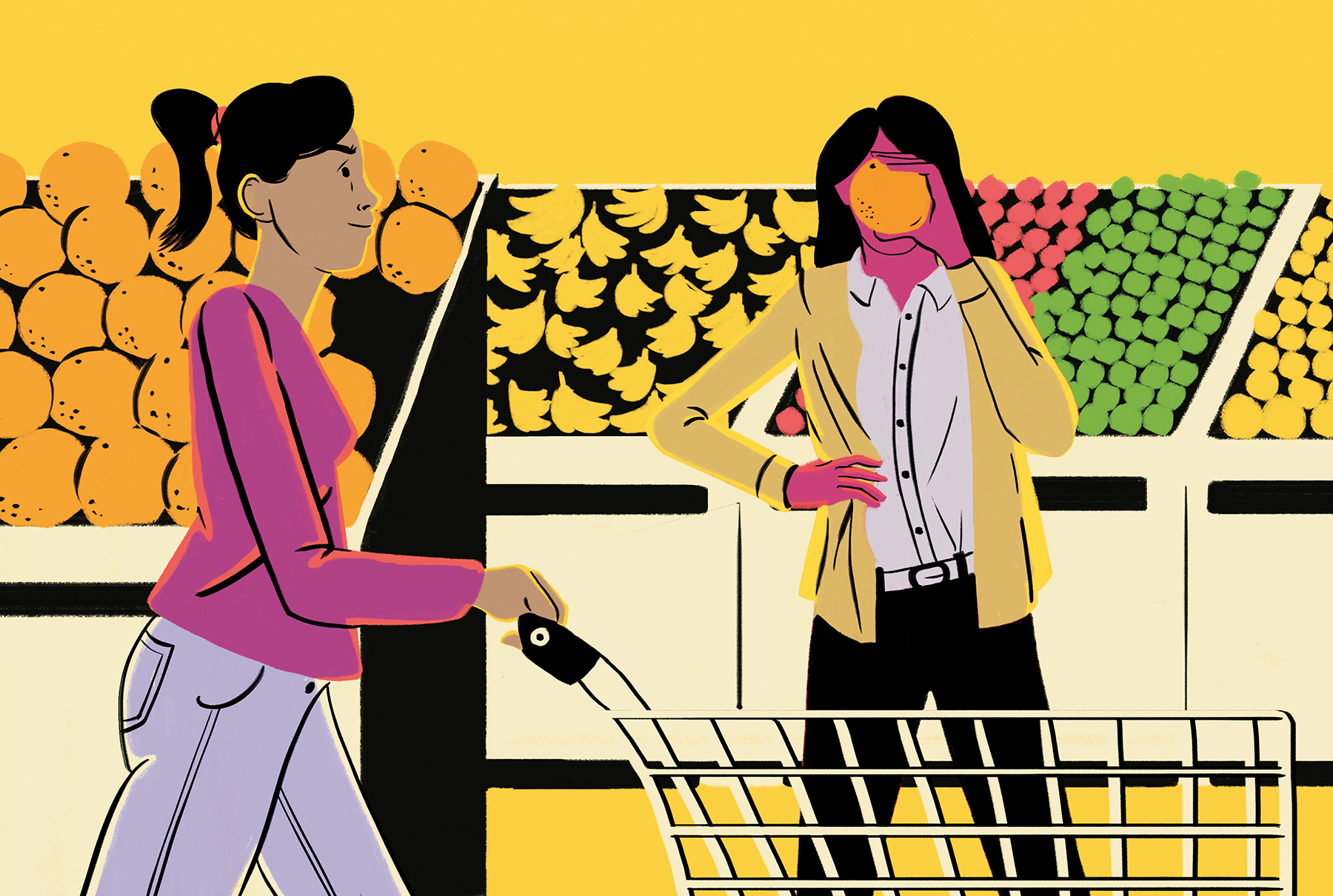 Illustration: 2 women in grocery store