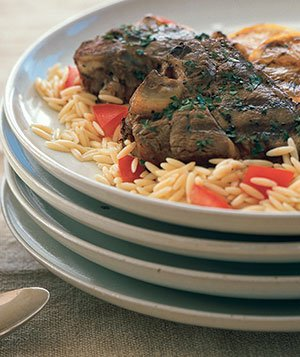 Grilled Oregano-Lemon Lamb Chops With Orzo