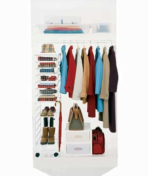An orderly coat closet