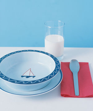 Dish, spoon, and a glass of milk