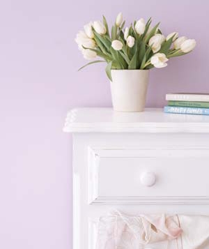 White tulips on a dresser