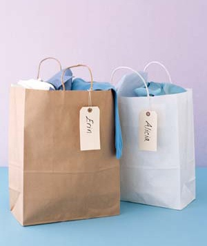 Two paper bags with tags