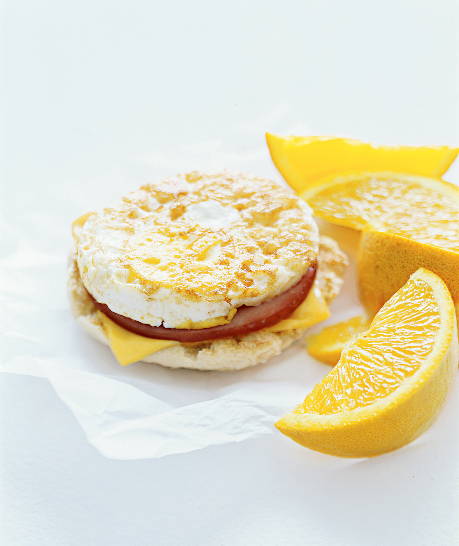 egg mcmuffin and orange