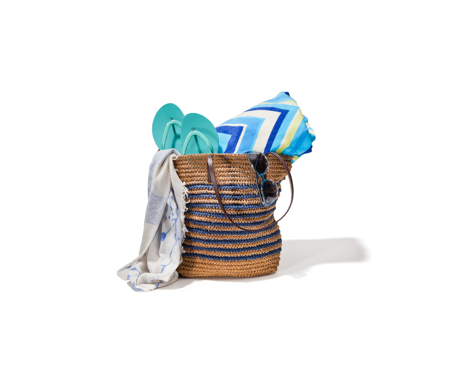Striped beach bag gift basket for Mother's Day