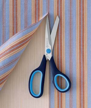 Scissors with striped fabric